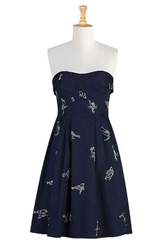 Night bird strapless dress-Could look cute with yellow/red belt or brown braided belt. Cowboy boots and washed out jean jacket to finish it off.