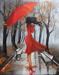 Painting by Eka Peradze * Umbrella Painting, Umbrella Art, Rain Art, Easy Paintings, Oil Paintings, Female Art, Art Pictures, Painting & Drawing, Pastel Drawing