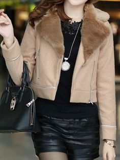Stylish Fur Turn-Down Collar Full Sleeve Zipper patchwork Nylon Trench Coat For Women on buytrends.com