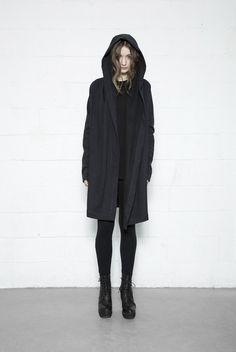 Long Hooded Cardigan - Black