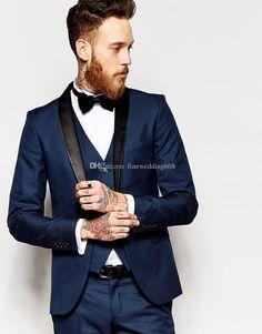 Custom Made One Button Navy Blue Groom Tuxedos Groomsmen Best Man Suit Wedding Men'S Suits Bridegroom Jacket+Pants+Vest+Tie+Kerchief P:01 Dinner Trousers Dress For Mens Formal From Finewedding668, $75.18| Dhgate.Com