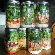 Salad in Mason Jars..salad dressing on bottom  www.facebook.com/homesteading