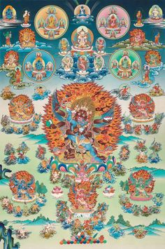 Bardo Mandala of the Hundred Peaceful and Wrathful Deities by Dorje Tamang 2006 gouache on cotton