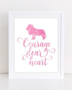 Book Quote Nursery Art, Courage Dear Heart, Narnia Quote, Book Lover Quote, CS Lewis, Pink Nursery Art, INSTANT DOWNLOAD, Pink Watercolor by DuneStudio on Etsy