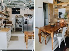 Cozy Hawaiian Hale Home Tour; Wooden accent wall in kitchen