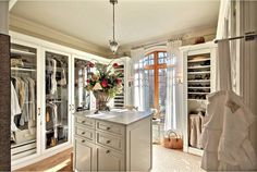 Great idea for walk in closet with glass doors and natural lighting.