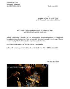 #MUNICIPALES2014 : RECLAMATION POUR NON ACCESSIBILITE A ESTREE-CAUCHY DEPOSEE A LA SOUS-PREFECTURE DE BETHUNE LE 25 MARS 2014