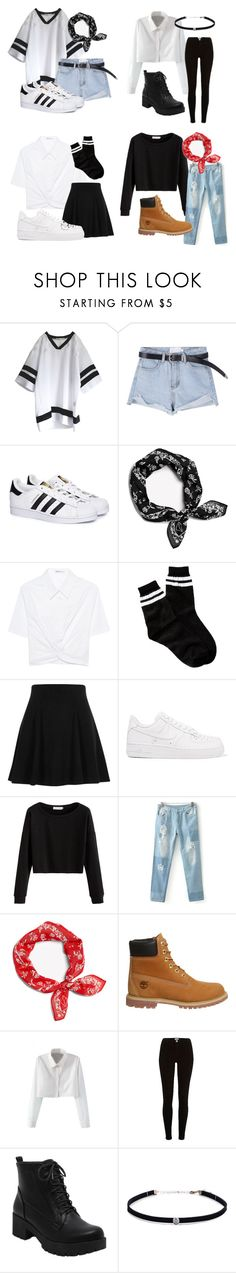 """girl group blackpink (part 1)"" by raloisio on Polyvore featuring adidas, rag & bone, T By Alexander Wang, Free Press, River Island, NIKE, Timberland, WithChic and Carbon & Hyde"
