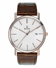 Bulova Watch, Men's Brown Leather Strap 37mm 98H51