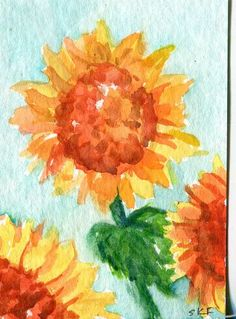 Sunflowers watercolor  Painting  original  ACEO by SharonFosterArt