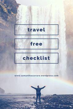 Free Printable Travel Checklist on https://samanthacarraro.wordpress.com/lifestyle/whats-in-my-travel-bag/ | Freebie | Holiday