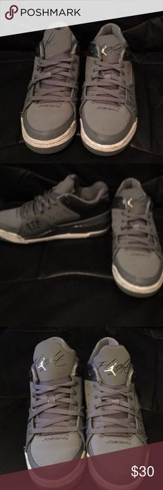 Grey Jordan flights Previously worn Jordan flights. Size 7.5/ kids 5.5. Worn a few times some wear on them. Bought for $110. Selling for $30. Jordan Shoes Sneakers