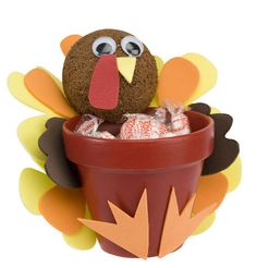 DecoArt® Turkey Treat Pot #claypot #craft #thanksgiving