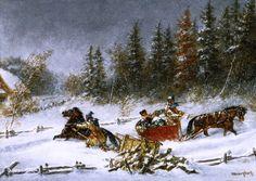 """Cornelius Krieghoff (Dutch-born Canadian painter, - """"A Winter Incident"""" Canada Landscape, Landscape Art, Canadian Painters, Canadian Artists, Art Gallery Of Ontario, House Painter, Cornelius, Oil Painting Reproductions, Objet D'art"""