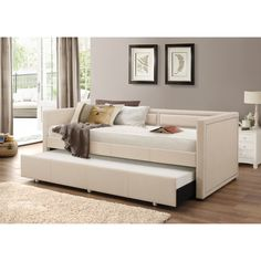 Baxton Studio Sofia Modern Contemporary Beige Or Grey Fabric Nailheads  Trimmed Sofa Twin Daybed With Roll Out Trundle Guest Bed By Baxton Studio