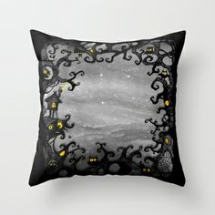 Dark Wood Throw Pillow by baba yagada - $20.00