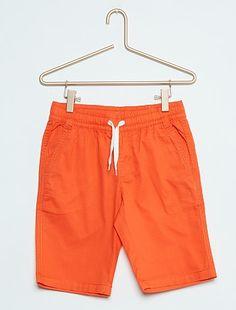 Short en coton twill                                                                                         orange Garçon  - Kiabi