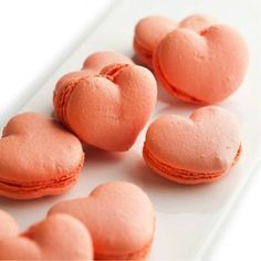 pink, heart shaped macarons
