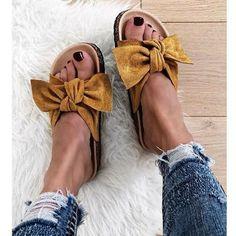 Παντόφλα Star με φιόγκο ταμπά Vacation Style, Flocking, Slip On, Beige, Flats, Heels, Casual, Gallery, Fashion