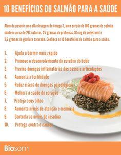 Clique na imagem e veja os 10 benefícios do salmão para a saúde. #infográfico #salmão #saúde #alimento #alimentaçãosaudavel #bemestar