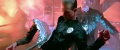 "The TERMINATOR 2: JUDGMENT DAY finale featured multiple T-1000 effects, including the ""Cleave Man"" effect. #terminator"