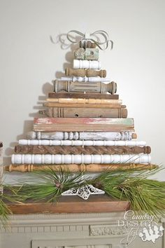 Vintage style DIY idea for Christmas tree decor made from my collection of old spindles | http://countrydesignstyle.com