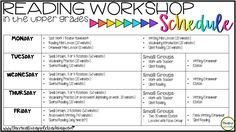 A 5th grade teacher's reading workshop schedule.