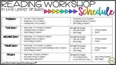 A 5th grade teacher's reading workshop schedule.