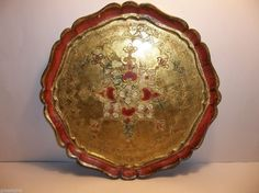 "Vintage Italian Florentine TOLEWARE Tray RED GOLD 13.5"" Hollywood Regency #HollywoodRegency #MadeInItaly"