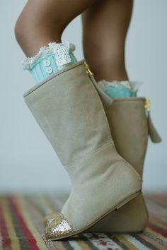 Knitted Leg Warmers Toddler Girls Mint Lace Trim by ThreeBirdNest