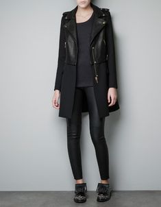 COMBINED LEATHER JACKET - Coats - Woman - ZARA United Kingdom