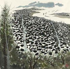 """blastedheath: """" Wu Guanzhong (Chinese, A Little Coastal Town. Hanging scroll, ink and colour on paper, 69 x 69 cm. Korean Painting, Chinese Painting, Pictures Images, Pictures To Draw, Wu Guanzhong, Art Chinois, China Art, Gravure, Painting Inspiration"""