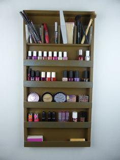Brown - turquoise glitter details - Makeup organizer - pencil-brush-lipstick holder Nail polish rack display - wall hanging - plexiglass
