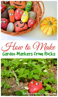 How to Make Garden Markers from Rocks: a cute spring craft for children and adults in preparation for the gardening season
