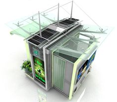 Ecokiosko  Este diseño quiere integrar las energías renovables en los puestos de venta de las calles.