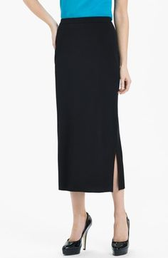 $155, Ming Wang Side Slit Knit Midi Skirt Black Medium. Sold by Nordstrom. Click for more info: https://lookastic.com/women/shop_items/47470/redirect