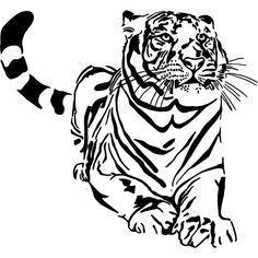 tiger art for kids - Sitting Tiger Style 1 Vinyl Wall Art Decal from International Expressions Tiger Outline, Animal Outline, Tiger Drawing, Tiger Art, Drawing Art, Outline Drawings, Animal Drawings, Drawing Animals, Free Printable Coloring Pages