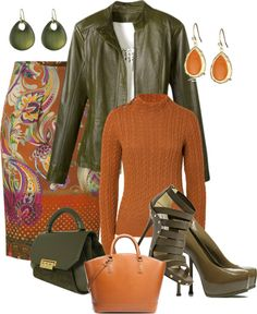 olive and brunt orange Classy Outfits, Chic Outfits, Skirt Outfits, Fall Fashion Outfits, Autumn Fashion, Womens Fashion, Modelos Fashion, Leather Jacket Outfits, Warm Autumn