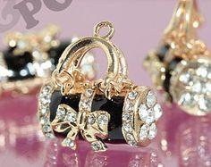 1 - 3D Gold Tone Kawaii Tote Purse Handbag Black Rhinestone Crystal Handbag Charm Pendant, Handbag Charm, Purse Charm, 24mm x 26mm (1-5G)