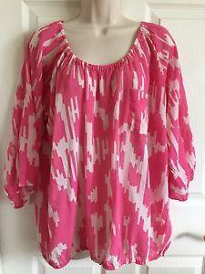 J. CREW Peasant Top 100% Cotton Whisper Gauze 3/4 Sleeve Blouson Pink White XL