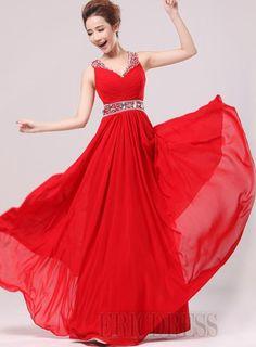 Graceful V-Neck A-Line Beadings Floor Length Prom Dress Popular Prom Dresses- ericdress.com 10465037