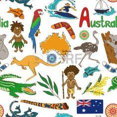 Fun colorful sketch Australia seamless pattern photo
