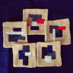Set of 5 patchwork coasters/Japanese Boro/Kimono/Katazome/Ikat/Indigo/Dyed/Linen/Reversivle
