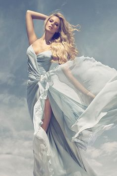 High fashion long dress modeling shoot. Attractive play of colors in a style that looks natural. Blumarine Sposa 2013 Advertising Campaign