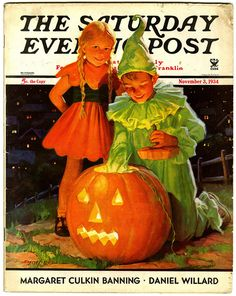 A heartwarmingly sweet 1930s Saturday Evening Post Halloween themed cover. #vintage #magazines #Halloween