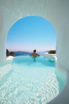 Whitewashed Interiors and Envy-Inducing Pools at Dana Villas in Santorini : Cave pool in Santorini A stunning collection of whitewashed suites and envy-induced pools, Dana Villas will fulfill everyone's dream vacation in Santorini. Holiday Destinations, Vacation Destinations, Dream Vacations, Vacation Spots, Jamaica Vacation, Mini Vacation, Holiday Places, Vacation Packages, Vacation Trips