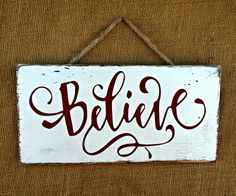 Believe Christmas Rustic Sign / Distressed Wooden Sign / Christmas Decor Believe Christmas Rustic Sign / Distressed Wooden Sign / … Christmas Wooden Signs, Diy Christmas Ornaments, Christmas Balls, Rustic Christmas, Christmas Projects, Holiday Crafts, Christmas Decorations, Christmas Ideas, Pallet Christmas