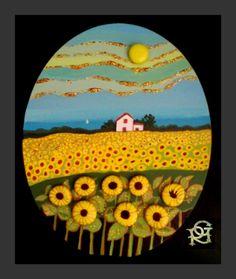Campo di girasoli-Painted Stones di Rosaria Gagliardi Pebble Stone, Pebble Art, Stone Art, Stone Crafts, Rock Crafts, Rock Painting Designs, Paint Designs, Sea Glass Mosaic, Coral Art