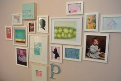 Gallery wall incorporating parents' baby pictures Clara's Room | Young House Love