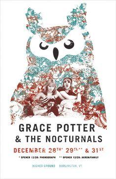 Gig poster for Grace Potter New Years Run @ Higher Ground, Burlington, VT